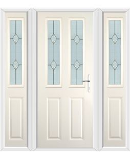 The Cardiff Composite Door in Cream with Classic Glazing and matching Side Panels
