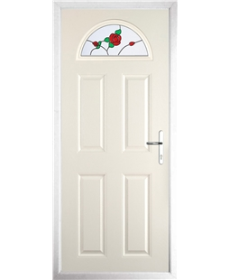 The Derby Composite Door in Cream with English Rose