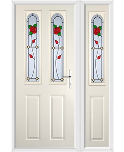 The Aberdeen Composite Door in Cream with English Rose and matching Side Panel