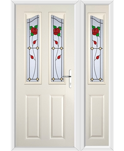 The Birmingham Composite Door in Cream with English Rose and matching Side Panel