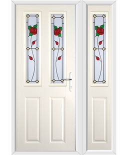 The Cardiff Composite Door in Cream with English Rose and matching Side Panel