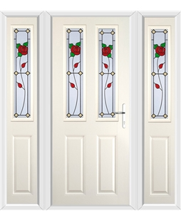 The Cardiff Composite Door in Cream with English Rose and matching Side Panels
