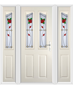 The Birmingham Composite Door in Cream with English Rose and matching Side Panels