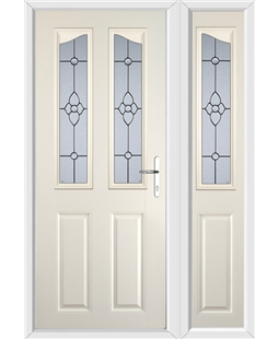 The Birmingham Composite Door in Cream with Finesse Glazing and matching Side Panel