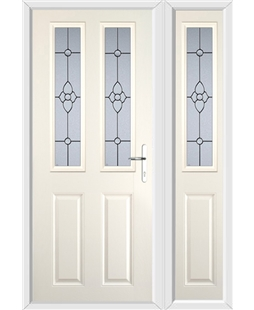 The Cardiff Composite Door in Cream with Finesse Glazing and matching Side Panel