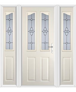 The Birmingham Composite Door in Cream with Finesse Glazing and matching Side Panels