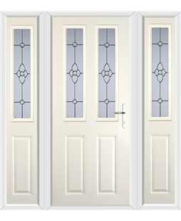The Cardiff Composite Door in Cream with Finesse Glazing and matching Side Panels