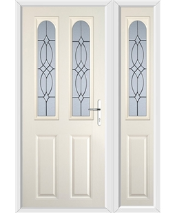 The Aberdeen Composite Door in Cream with Flair Glazing and matching Side Panel
