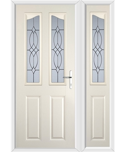 The Birmingham Composite Door in Cream with Flair Glazing and matching Side Panel
