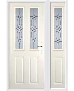 The Cardiff Composite Door in Cream with Flair Glazing and matching Side Panel
