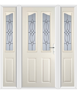 The Birmingham Composite Door in Cream with Flair Glazing and matching Side Panels