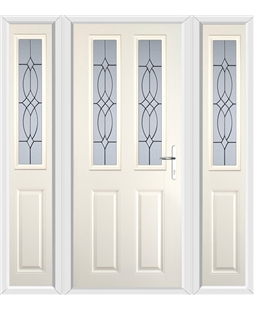 The Cardiff Composite Door in Cream with Flair Glazing and matching Side Panels