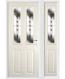 The Aberdeen Composite Door in Cream with Fleur and matching Side Panel