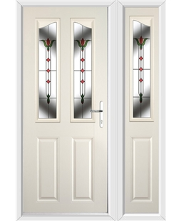 The Birmingham Composite Door in Cream with Fleur and matching Side Panel