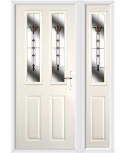 The Cardiff Composite Door in Cream with Fleur and matching Side Panel