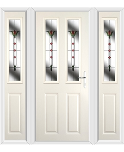 The Cardiff Composite Door in Cream with Fleur and matching Side Panels