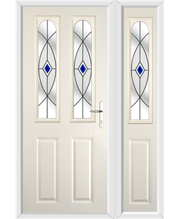The Aberdeen Composite Door in Cream with Blue Fusion Ellipse and matching Side Panel