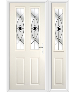 The Cardiff Composite Door in Cream with Black Fusion Ellipse and matching Side Panel