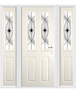 The Cardiff Composite Door in Cream with Black Fusion Ellipse and matching Side Panels