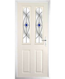 The Aberdeen Composite Door in Cream with Blue Fusion Ellipse