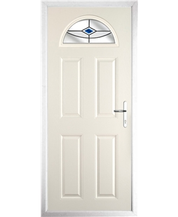 The Derby Composite Door in Cream with Blue Fusion Ellipse