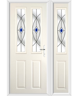 The Cardiff Composite Door in Cream with Blue Fusion Ellipse and matching Side Panel