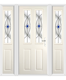The Cardiff Composite Door in Cream with Blue Fusion Ellipse and matching Side Panels