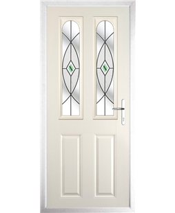 The Aberdeen Composite Door in Cream with Green Fusion Ellipse