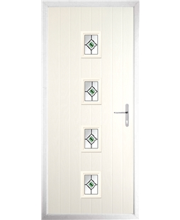 The Uttoxeter Composite Door in Cream with Green Fusion Ellipse