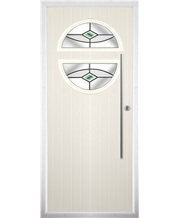 The Xenia Composite Door in Cream with Green Fusion Ellipse