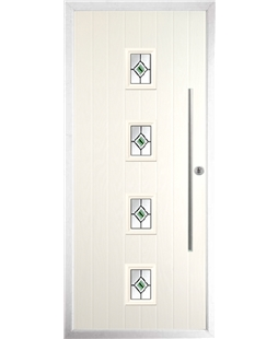 The Leicester Composite Door in Cream with Green Fusion Ellipse
