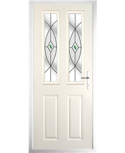 The Cardiff Composite Door in Cream with Green Fusion Ellipse