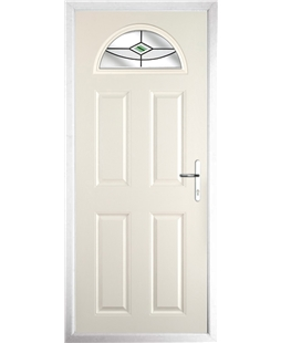 The Derby Composite Door in Cream with Green Fusion Ellipse