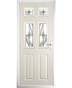 The Oxford Composite Door in Cream with Green Fusion Ellipse