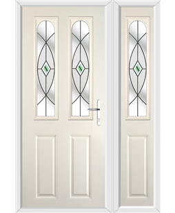 The Aberdeen Composite Door in Cream with Green Fusion Ellipse and matching Side Panel