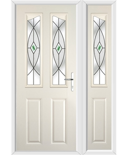The Birmingham Composite Door in Cream with Green Fusion Ellipse and matching Side Panel