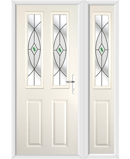 The Cardiff Composite Door in Cream with Green Fusion Ellipse and matching Side Panel
