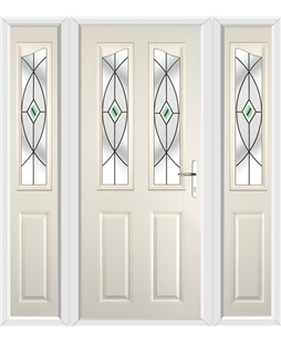 The Birmingham Composite Door in Cream with Green Fusion Ellipse and matching Side Panels