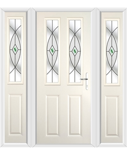 The Cardiff Composite Door in Cream with Green Fusion Ellipse and matching Side Panels