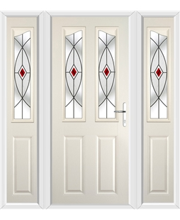 The Birmingham Composite Door in Cream with Red Fusion Ellipse and matching Side Panels