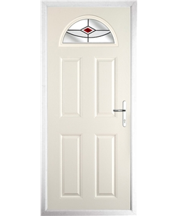 The Derby Composite Door in Cream with Red Fusion Ellipse