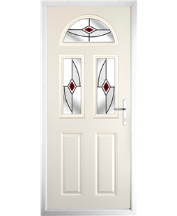 The Glasgow Composite Door in Cream with Red Fusion Ellipse