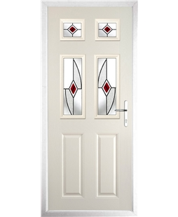 The Oxford Composite Door in Cream with Red Fusion Ellipse