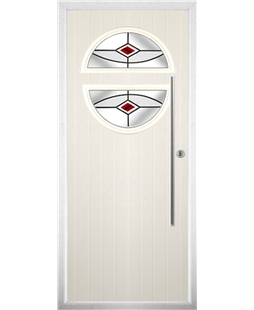 The Xenia Composite Door in Cream with Red Fusion Ellipse