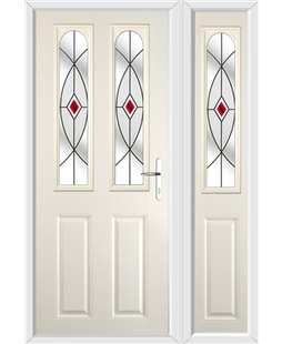 The Aberdeen Composite Door in Cream with Red Fusion Ellipse and matching Side Panel