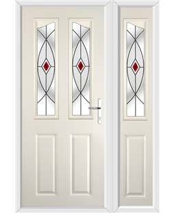 The Birmingham Composite Door in Cream with Red Fusion Ellipse and matching Side Panel
