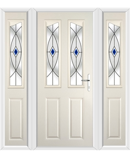 The Birmingham Composite Door in Cream with Blue Fusion Ellipse and matching Side Panels