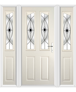 The Birmingham Composite Door in Cream with Black Fusion Ellipse and matching Side Panels