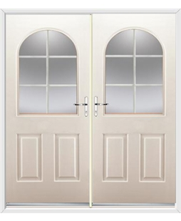 Kentucky French Rockdoor in Cream with White Georgian Bar