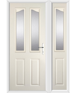 The Birmingham Composite Door in Cream with Glazing and matching Side Panel